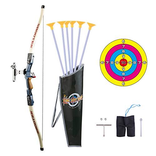 Amitas 12er Pfeil und Bogen Kinder Set Schießspiele mit Zielscheibe Bogenschießen Spielzeug für ab 6 Jahre (A)