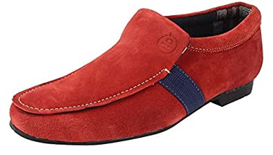 Guava Sleek Suede Loafers – Red