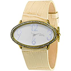 Moog Paris - Egg, ladies watch with White dial, natural strap - made in France - M44142-107