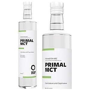 PRIMAL MCT Öl in Glasflasche   Premium-Extrakt aus Kokosöl   Geschmacksneutral   Laborgeprüft   Caprylsäure (C-8) und Caprinsäure (C-10)   Bulletproof Coffee   MCT Oil - 500ml