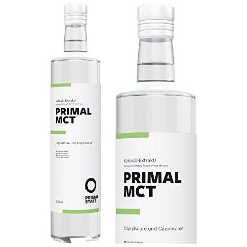 MCT Öl von Primal State in 500ml Glasflasche aus 100% Kokosöl, 70% Caprylsäure und 30% Caprinsäure