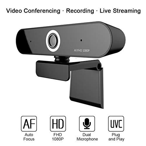 JIANG Autofokus-Webcam 1080P, Digitale Webcam mit Mikrofon für Videokonferenzen, 90-Grad-erweiterte Ansicht, Echtzeit-Streaming-Kamera für PC, Laptop und Desktop