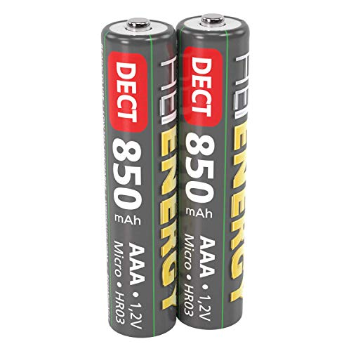 HEITECH AAA Akku Micro 850 mAh 1,2V NiMH - 2× Wiederaufladbare Batterien DECT für Schnurlostelefon mit geringer Selbstentladung - Akkus für Geräte mit hohem Stromverbrauch