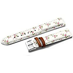 iCreat Genuine Leather Watch bands Strap 14MM - Rose Rose Floral Blanc Rose R¨¦tro Mignon
