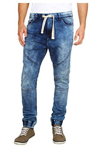 Pantaloni da uomo Sublevel in felpa effetto jeans | Pantaloni da jogging aderenti con elastico in vita in stile denim | Gamba diritta | Effetto used