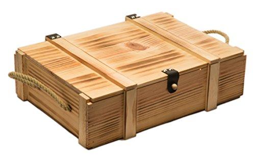 Kistenkolli Altes Land Weinkiste 3er geflammt inkl. Holzwolle/Holzkiste/Geschenkbox/Aufbewahrungsbox/Überraschungskiste/Weinbox/Hochzeitskiste (3er Weinbox)