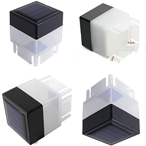 Jaminy Solar Powered draußen LED Square Zaun Licht Gartenlandschaft Post Deck Lampe [Energieklasse A+++] (Cool Weiß) (Solar Powered Led-flut-licht)