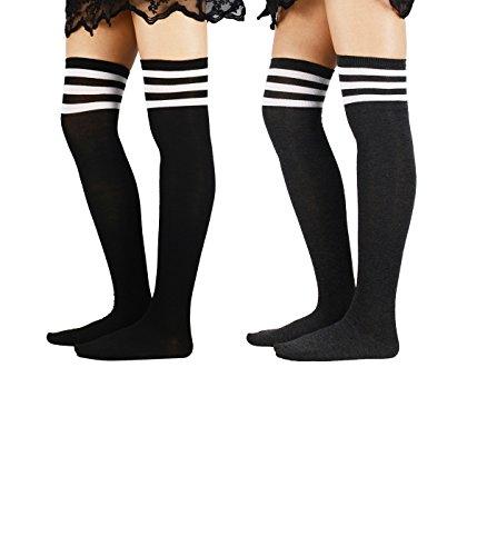 Zando Donna atleta Righe Sottili Solid coscia alti calzini sopra al ginocchio calze 2 Pairs 2 Taglia unica