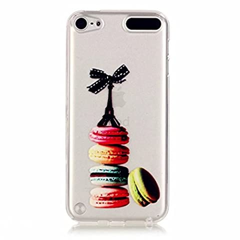 MUTOUREN iPod Touch 5/Touch 6 case cover TPU Silicone Gel Case crystal clear shock proof soft durable scratch resistant Jelly Rubber TPU protective case cover shell with beautiful colorful pattern design- Macaroon hamburger black Eiffel Tower bowknot