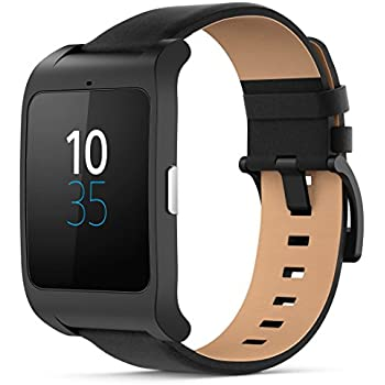 Sony Mobile SWR50 SmartWatch 3 Fitness and Activity Tracker Wrist Watch Compatible with Android 4.3+ Smartphones - Black Leather