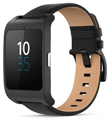 "Sony SWR50BKL Smartwatch 3, Display Transflettivo da 1,8"", Processore Quad ARM A7 1.2 Ghz, Memorie RAM da 512 MB, Cinturino in Pelle, Nero"