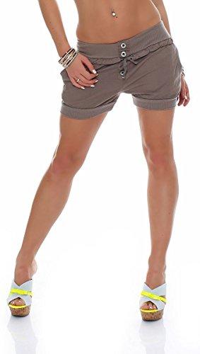 malito Damen Hotpants in Unifarben | lockere kurze Hose | Bermuda für den Strand | Pants – Shorts – klassisch 6086 (fango, XL) (Bermuda Klassische)