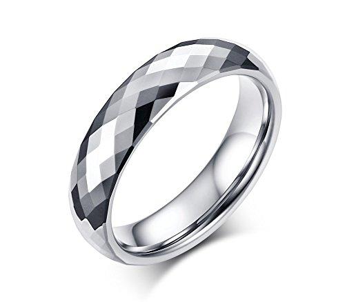 Vnox Argento 5 millimetri carburo di tungsteno Rhombic-taglio sfaccettato anello di fidanzamento Wedding Band