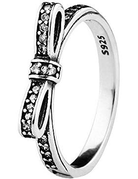 Damen-Ringe Bowknot 925 Sterling Silber Rund Weiß Kristall Zirkonia Schlank Mädchen Fingerring mit Geschenkbox...