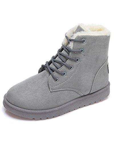Minetom Donna Lace Up Pelliccia Neve Stivali Autunno Inverno Calzature Female Sneaker Moda Grigio EU 38