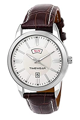 Timewear Formal Day Date Series Silver Dial Leather Strap Watch for Men - 194SDTG