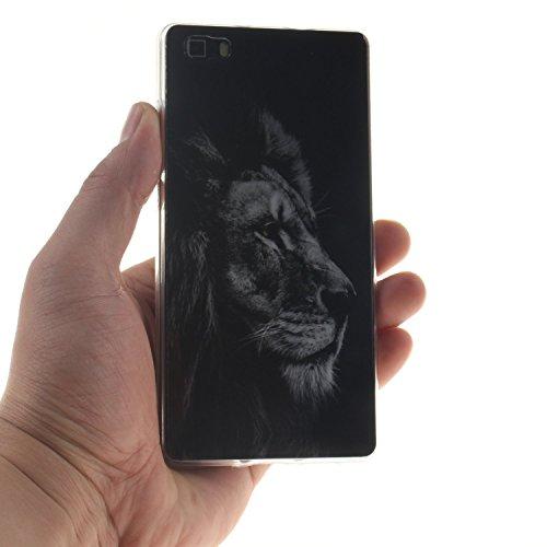 Voguecase® Per Apple iPhone 5 5G 5S, Custodia Silicone Morbido Flessibile TPU Custodia Case Cover Protettivo Skin Caso (Nero - be happy 03) Con Stilo Penna Leone testa 01
