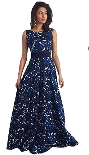 Damen Kleider, GJKK Damen Elegant Floral Rückenfrei Kleid Ärmellos Lange Formale Abendkleid Party...