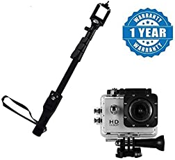 captcha Selfie Monopod Stick with Bluetooth Remote Controller and 1.5-inch Action Camera Camcorder Compatible with All Smartphones (Multicolour)