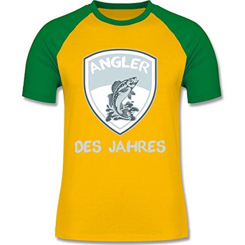 Angeln - Angler des Jahres - zweifarbiges Baseballshirt für Männer Gelb/Grün