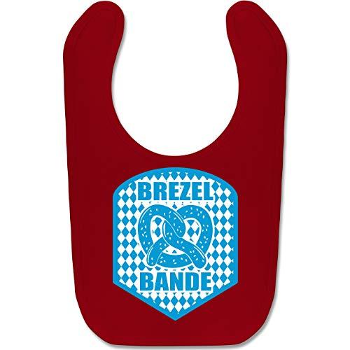 Kostüm Bauern Muster - Shirtracer Oktoberfest Baby - Brezelbande mit bayrischem Muster - Unisize - Rot - BZ12 - Baby Lätzchen Baumwolle