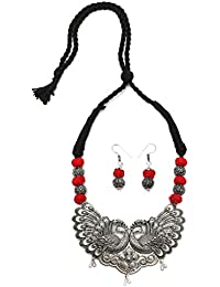 Tandra's Fashion Oxidised Or German Silver Red And Black Peacock Necklace Set For Women And Girls