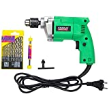 KHADIJA Powerful Simple Electric Drill Machine 10mm With Free 13Pcs HSS Drill Bits & 1Pc Masonary Bit Combo