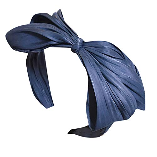 iCerber Haarbänder,Stoff plissiert großen Bogen breitkrempigen Stirnband Stirnband Haarband Haarreif Damen Headband Vintage Einfache Elegante Haarschmuck 2019 neu