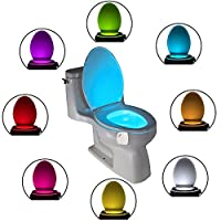 Led Toilet Light,Motion Activated Toilet Night Light,8 Color Changing Rechargeable Toilet Night Light,Toilet Seat Bowl Light,White