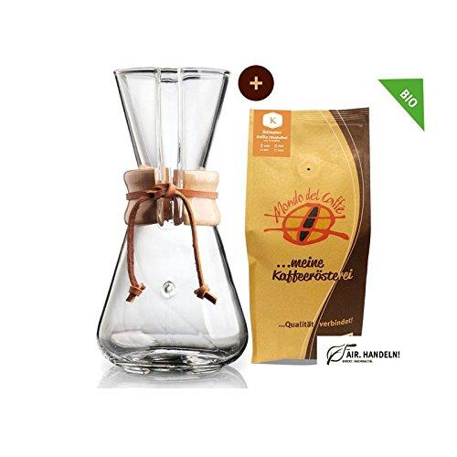 Set Chemex Kaffeekaraffe für 1 bis 3 Tassen (450 ml) mit 250 g Filterkaffee, Mondo del Caffè...