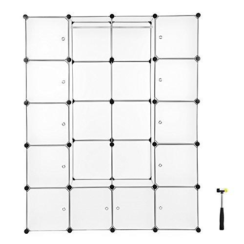 Songmics Kleiderschrank Garderobenschrank Mit 2 Kleiderstange Regalsystem 178 x 143 x 36 cm Weiß LPC30W