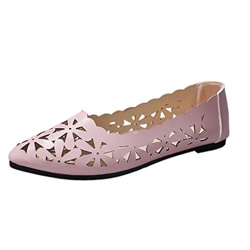 OYSOHE Sommer Frauen Flache Ferse Aushöhlen Blumen Form Nackte Schuhe Wies Zehe Schuhe Spitze Weiche Sohlenschuhe (Nieten Flache Ferse)