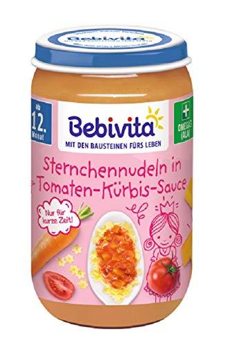 Bebivita Menüs ab 12. Monat, Limitiert Prinzessin - Sternchennudeln in Tomaten-Kürbis-Sauce, 6er Pack (6 x 250 g)