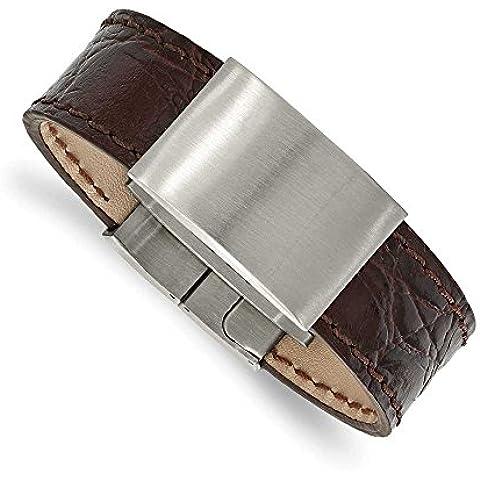 23,37 mm, in acciaio INOX spazzolato, colore: marrone scuro, 21,59 cm (8,5