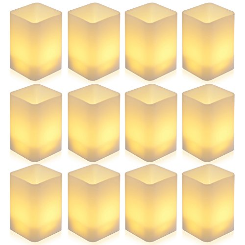 PChero LED parpadeante conjunto de velas sin llama, tealights con pilas LED...
