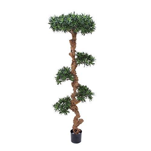 artplants Künstlicher Bonsai Podocarpus mit Echtstamm, 7000 Blätter, 185 cm – Kunstpflanze Bonsai/Kunststoff Bonsai