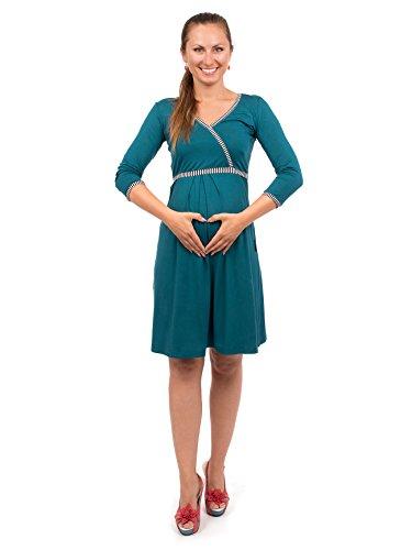 Viva la Mama blaues Kleid für Schwangere Stillkleid Damen Umstandsmode Kleid festlich Mamamode - Wanda Petrolblau Streifen