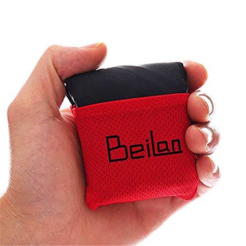 BeiLan Mini Picknickdecke Wasserdicht, Ultraleicht, Kleines Packmaß - Ideal für Ground Sheet, Pocket Blanket, Stranddecke, Taschendecke, Campingdecke, Sitzunterlage (70 * 110cm, Schwarz& Rot)