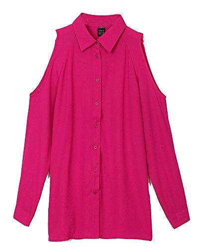 Missmao camicia maglietta camicetta tunica maniche lunghe bottone giù spalla nuda per elegante e moda rosa 5xl
