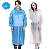 Reusable Rain Poncho, 2 Pack Waterproof & Windproof Raincoat Rain Resistant Poncho with Elastic Drawstring Hood and Sleeves, Perfect for Travel, Festivals, Theme Parks and Outdoors