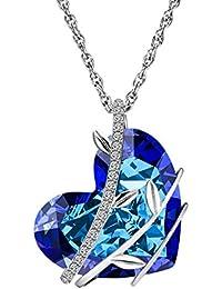 5e230f884065d ATMOKO Collier Pendentif en Cristal Swarovski Bleu Cœur et Plaqué Platine  avec Boîte-Cadeau,