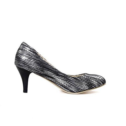 AgooLar Femme Matière Mélangee Tire Pointu à Talon Correct Couleur Unie Chaussures Légeres Noir