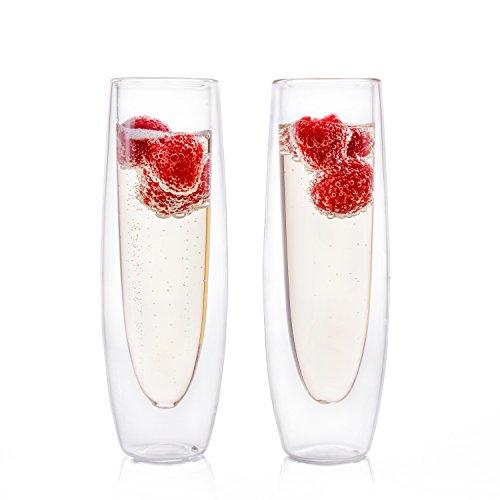 Eparé Champagnerflöten, isolierte Glass Set ohne Stiel (150 ml) - Flötenglas für Brunch, Wein & Hochzeit Cocktails - wiederverwendbare Party Becher - 2 Gläser