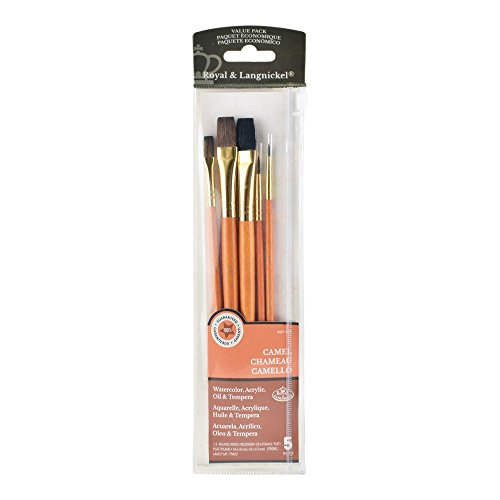 Royal & Langnickel 9115 Series, 5 Brush Value Pack in Storage Pouch, Sable and Camel Brushes, Round Sizes 1, 3, Stroke 1/4, 1/2, Flat 1/2 (RSET-9115) - Value Pack Von Camel