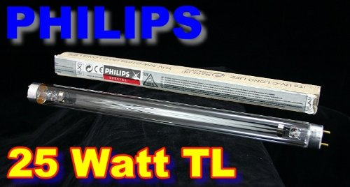 Philips 25 Watt TUV TL T8 UV-C Long Life Erstzlampe Länge: 451,6mm Version 2013 (G10-brenner)