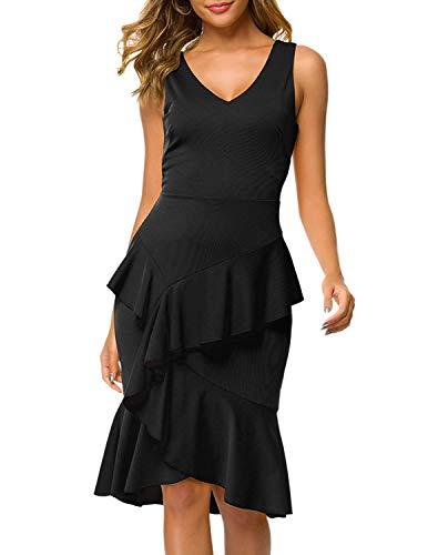 ANGGREK Damen Ärmellos Kleid Sommerkleid V-Ausschnitt Bodycon Kleid Strandkleid mit Unregelmäßig Rüschen Casual - Rüschen Tiefem Ausschnitt-kleid