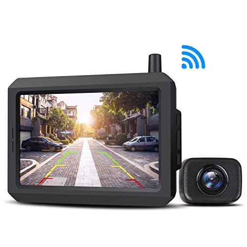 AUTO-VOX W7 Kabellos Digital Rückfahrkamera Set mit 5''LCD-Monitor mit Antenne, eingebautem Funksender, Wireless Einparkhilfe,Wasserdicht IP68-Backup-AutoKamera, Nachtsicht für SUV,Van,KfZ,Anhänger