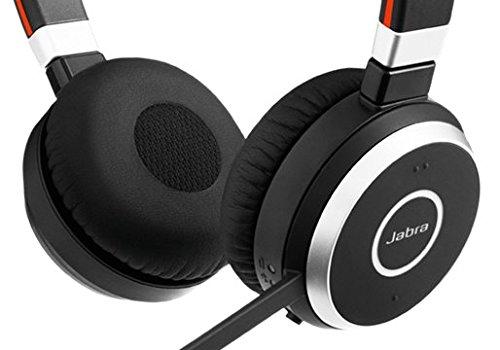 Jabra Evolve 65 UC Stereo Binaurale Diadema Negro auricular con micrófono - Auriculares con micrófono (Binaurale, Diadema, Negro, Cisco Avaya, Por cable/Bluetooth, 30 m)