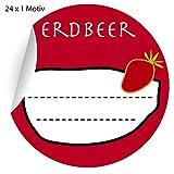 24 leckere Erdbeer Marmeladen Aufkleber auch für Liköre u.a. Köstlichkeiten zum beschriften, rot, MATTE Papieraufkleber für Geschenke, Etiketten für Tischdeko, Pakete, Briefe und mehr (ø 45mm