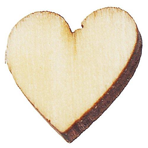 SUMAJU Wood Heart Embellishments, 200 Pieces Mini Wooden Mixed Hearts Embellishments for Wedding DIY Craft Making Burlywood Color